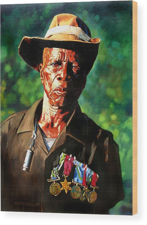 Black Soldier Wood Print featuring the painting One Armed Soldier by John Lautermilch