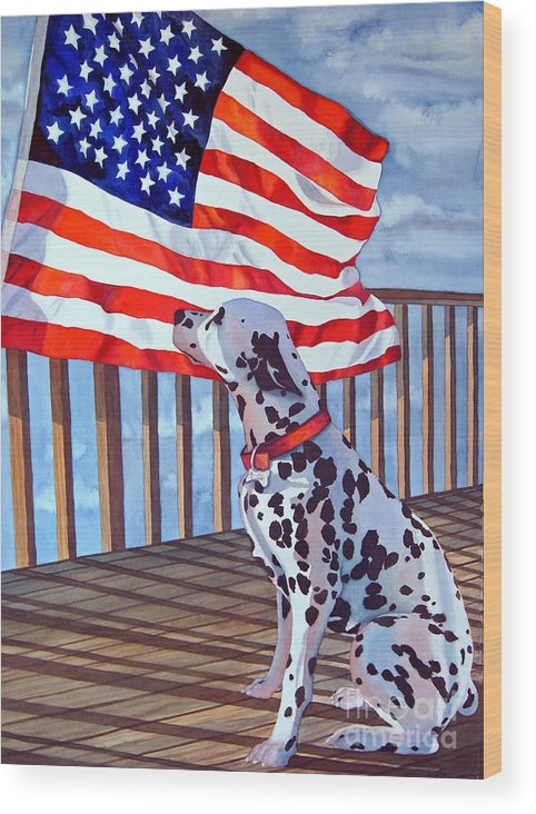 Animals/ Dog/ Dalmatian/u.s. Flag Wood Print featuring the painting One Dog Salute by Gail Zavala
