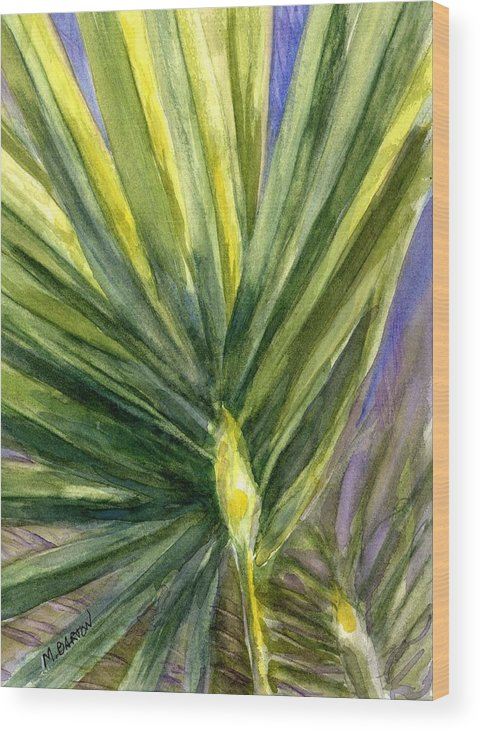 Palm Wood Print featuring the painting Palm Frond by Marilyn Barton