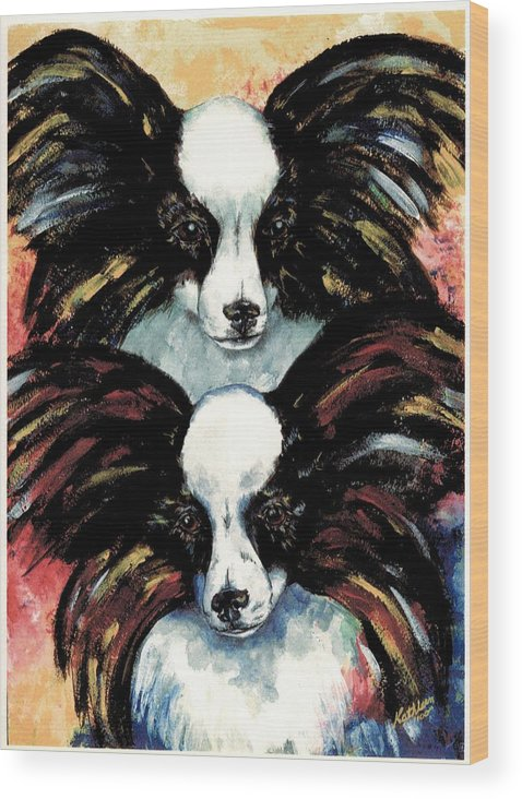 Papillon Wood Print featuring the painting Papillon De Mardi Gras by Kathleen Sepulveda