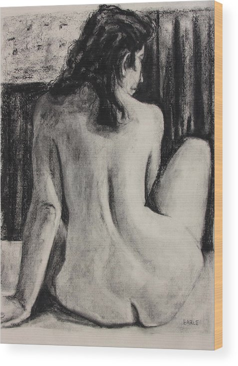 Female Nude Wood Print featuring the painting Pause by Dan Earle