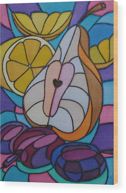 Still Life Wood Print featuring the painting Pear And Plums by Tatiana Antsiferova