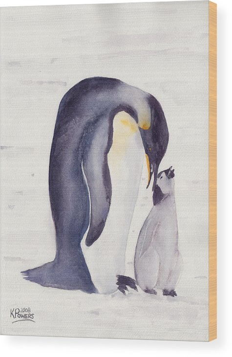 Penguin Wood Print featuring the painting Penguin And Baby by Ken Powers