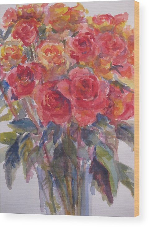 Flowers Wood Print featuring the painting Per's Roses by Joyce Kanyuk