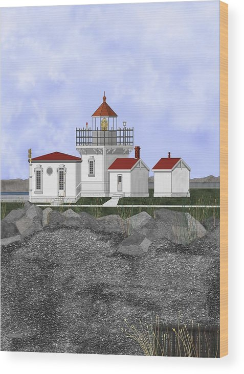 Lighthouse Wood Print featuring the painting Point No Point Lighthouse by Anne Norskog