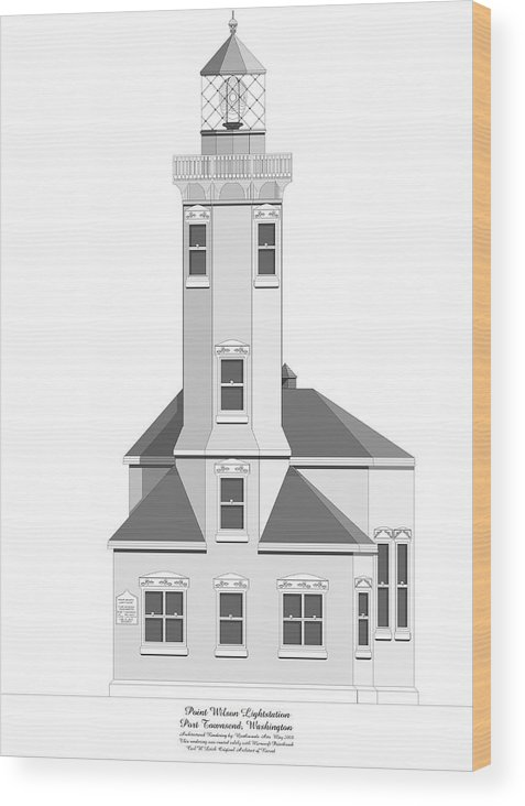Lighthouse Wood Print featuring the painting Point Wilson Architectural Drawing by Anne Norskog