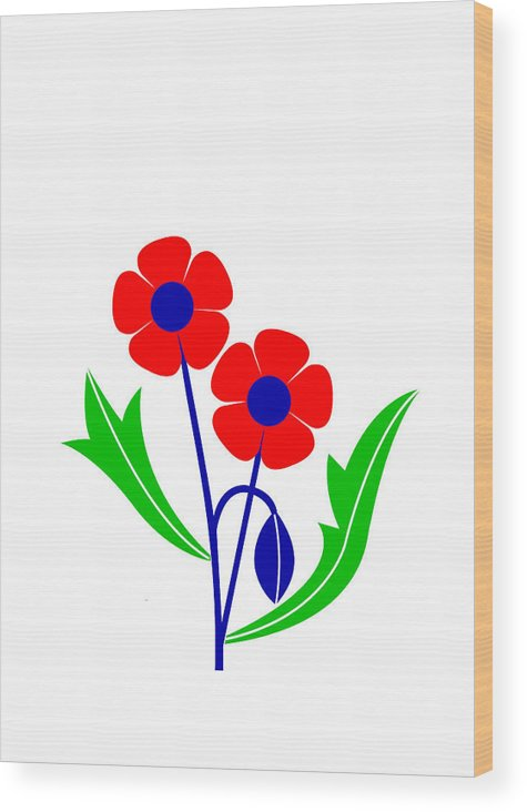 Poppy Wood Print featuring the digital art Poppy by Asbjorn Lonvig
