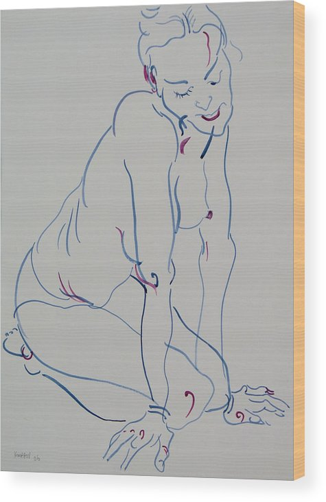Woman Wood Print featuring the drawing Pretty Nude Woman by Vitali Komarov