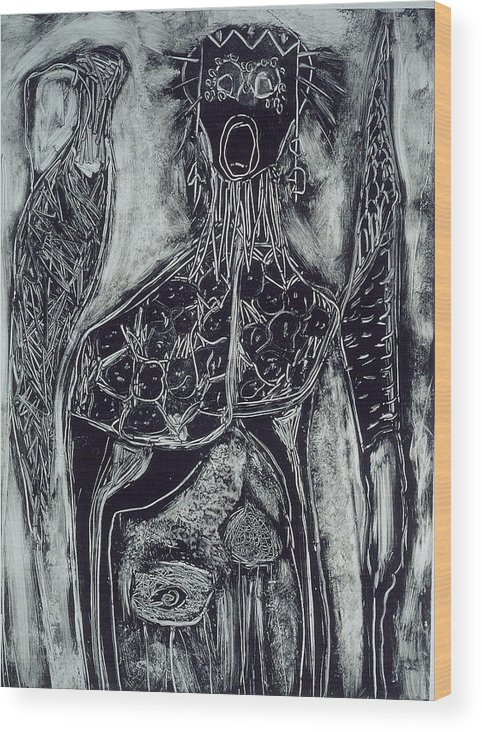Primitive Wood Print featuring the print Primal by Angela Dickerson