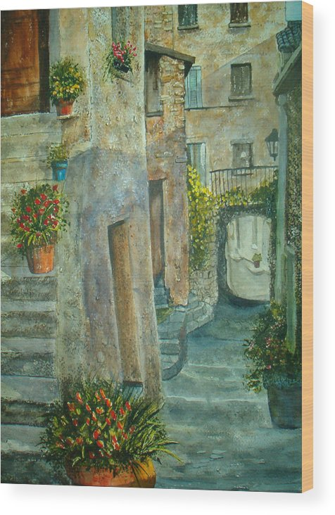 Landscape Wood Print featuring the painting Provence Alley by Shirley Braithwaite Hunt