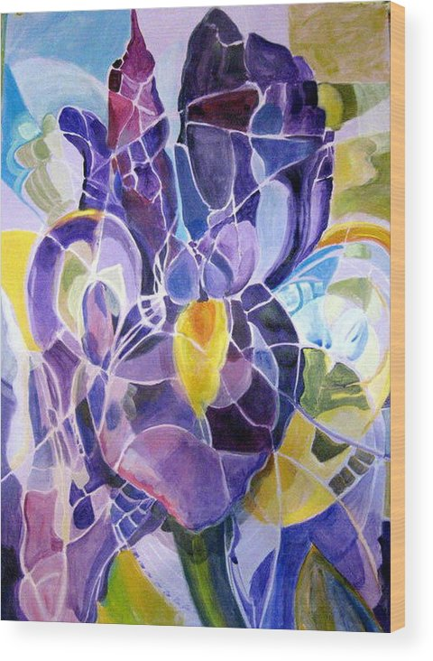 Nature Wood Print featuring the painting Purple Irises by Therese AbouNader
