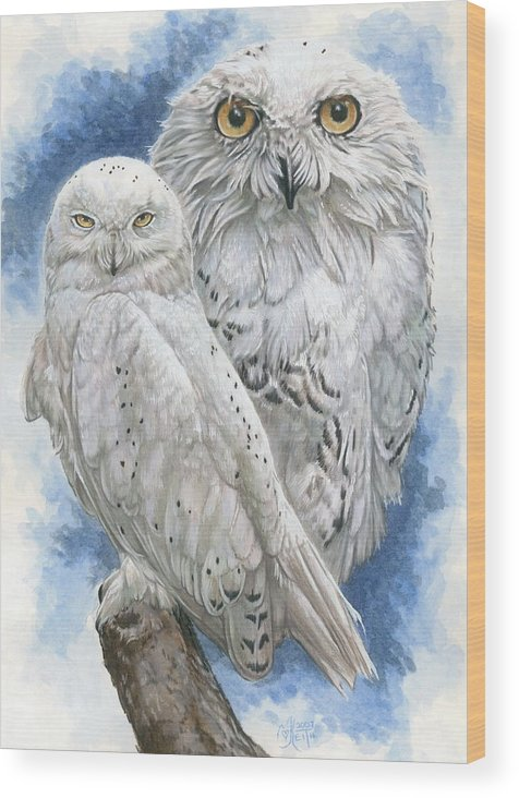 Snowy Owl Wood Print featuring the mixed media Radiant by Barbara Keith