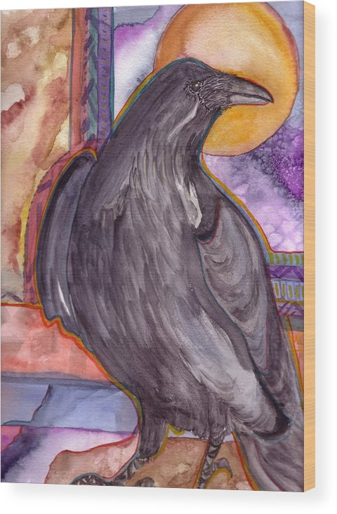 Wildlife Wood Print featuring the painting Raven Steals Sunlight by K Hoover