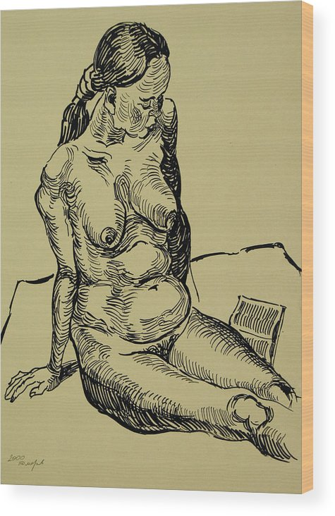 Woman Wood Print featuring the drawing Reading Naked Woman by Vitali Komarov
