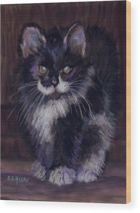 Kitten Wood Print featuring the painting Ready For Trouble by Sharon E Allen