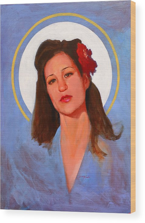 Portrait Wood Print featuring the painting Renee 1940 by John Tartaglione
