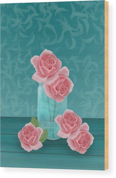 Roses Wood Print featuring the digital art Roses In Clear Blue Jar by Michelle Lanoue