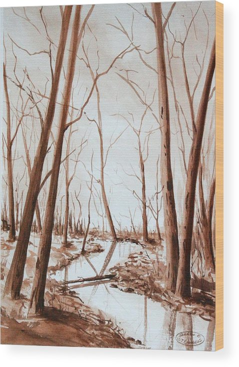 Sepia Watercolour Of Trees Wood Print featuring the painting Rotary Bog by Sharon Steinhaus