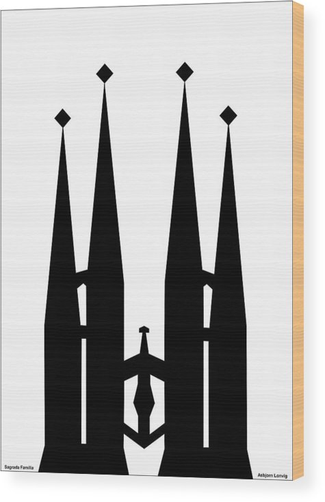Sagrada Familia Wood Print featuring the digital art Sagrada Familia by Asbjorn Lonvig