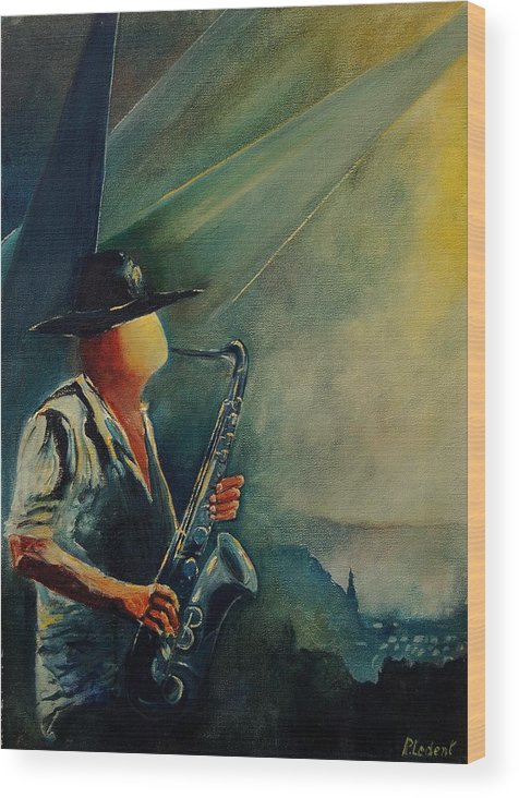 Music Wood Print featuring the painting Sax Player by Pol Ledent