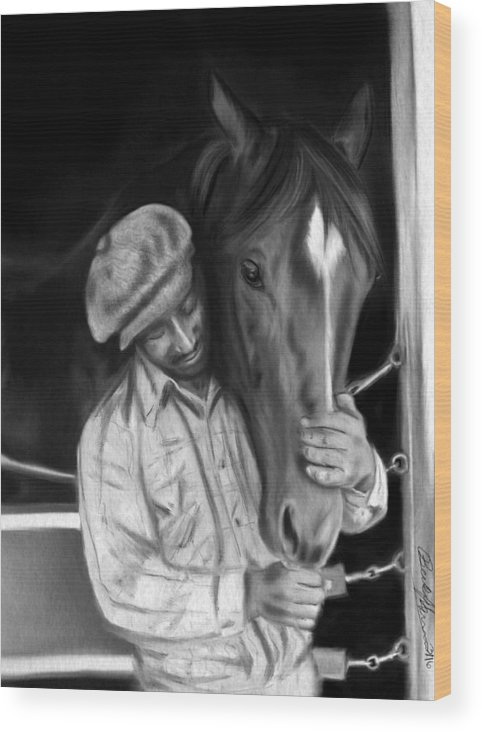 Secretariat Wood Print featuring the drawing Secretariat And His Groom by Becky Herrera