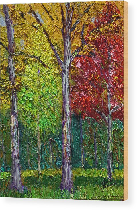 Fall Wood Print featuring the painting Sewp Fall by Stan Hamilton