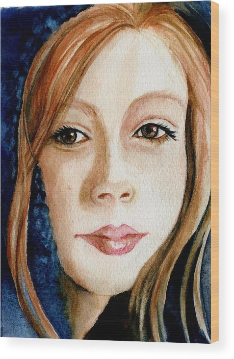Portrait Commission Wood Print featuring the painting Shel by L Lauter
