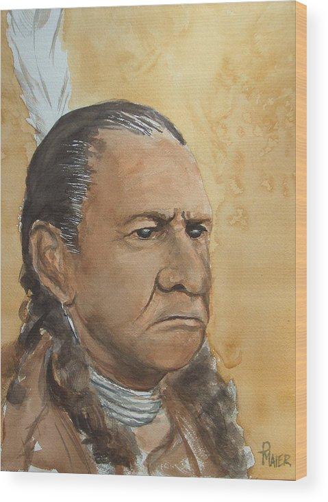 American Indian Wood Print featuring the painting Sitting Bull by Pete Maier