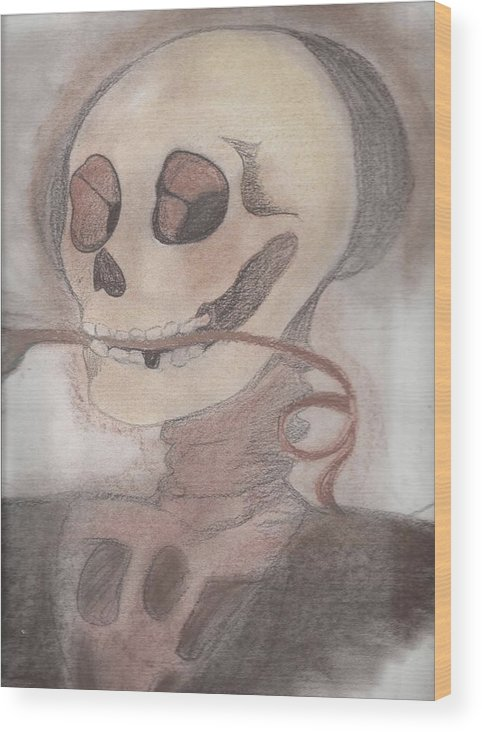 Skull Wood Print featuring the drawing Skulls A Wimzy by Crystal Guzman