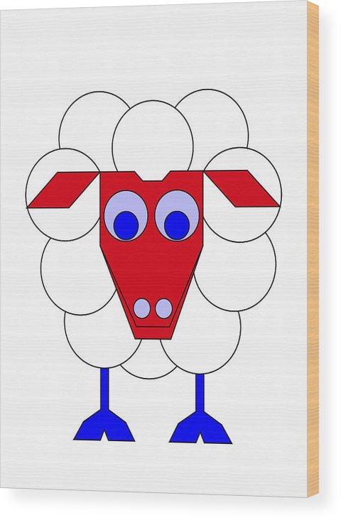 Sleep-sheep Wood Print featuring the digital art Sleep-sheep by Asbjorn Lonvig