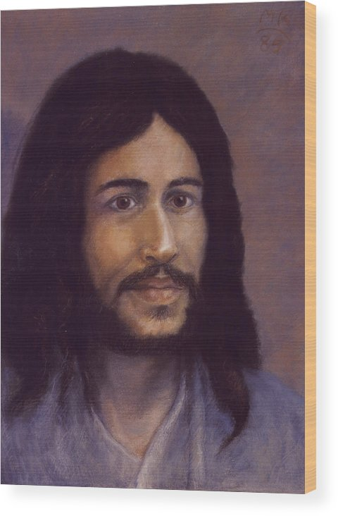 Jesus Wood Print featuring the painting Smiling Jesus by Miriam A Kilmer