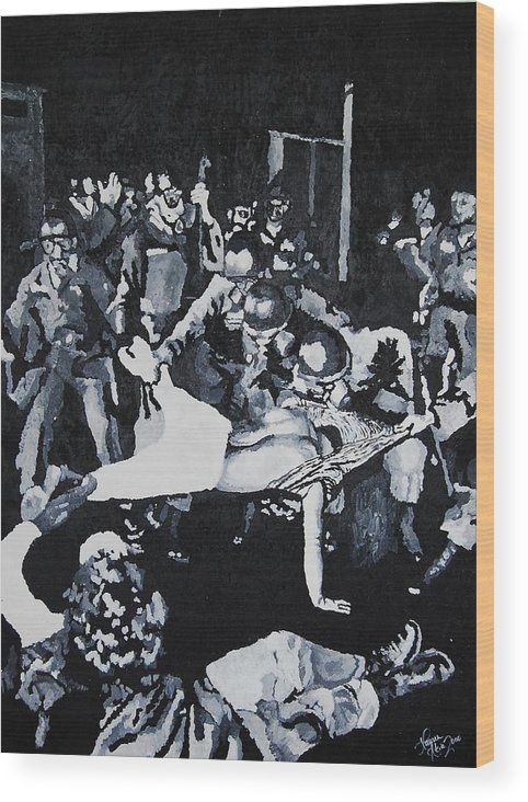 Civil Rights Wood Print featuring the painting Sncc Photographer Is Arrested By National Guard by Lauren Luna