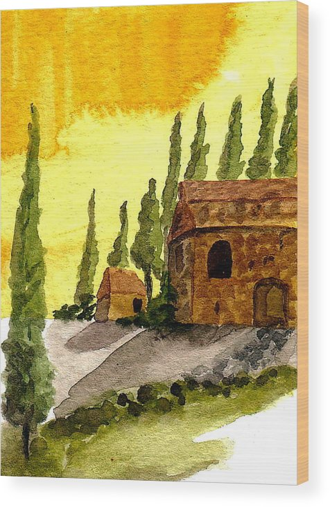 Original Art Wood Print featuring the painting Sonoma Hillside In Fall by K Hoover