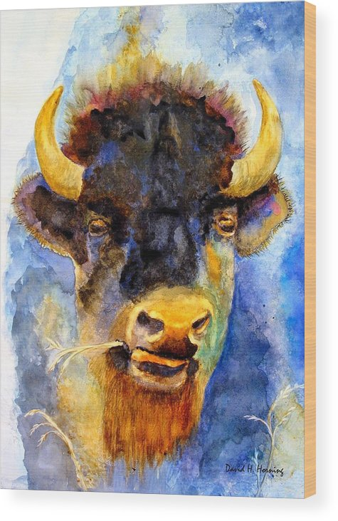 Animal Wood Print featuring the painting Spirit Buffalo by David Horning