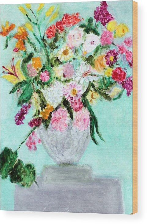 Still Life Wood Print featuring the painting Spring Bouquet by Michela Akers