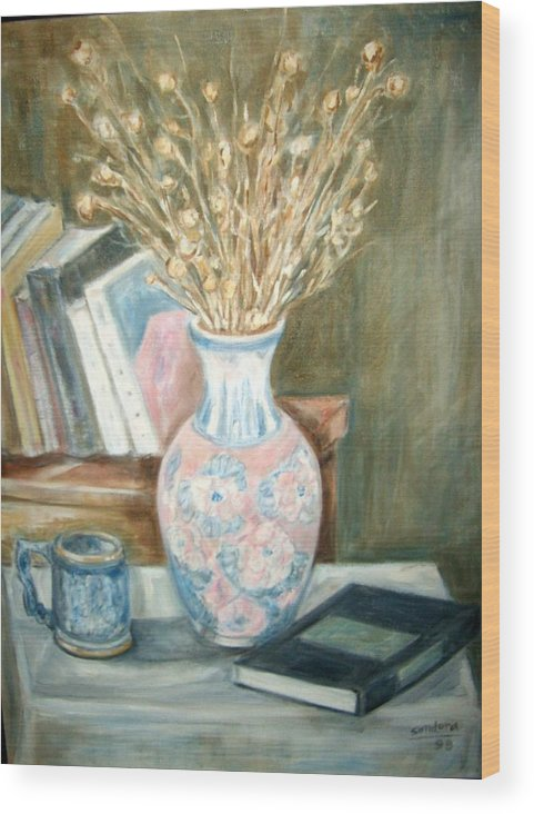 Still Life With Books Vase Dry Plants Book Wood Print featuring the painting Stalks 2 by Joseph Sandora Jr