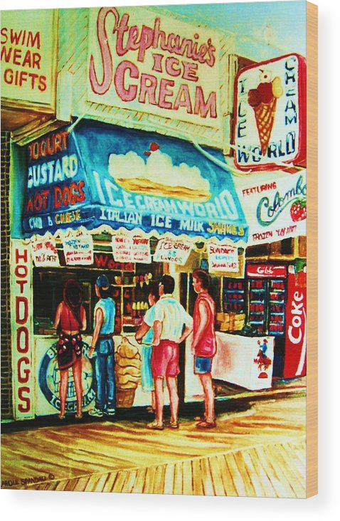 Children Wood Print featuring the painting Stephanies Icecream Stand by Carole Spandau