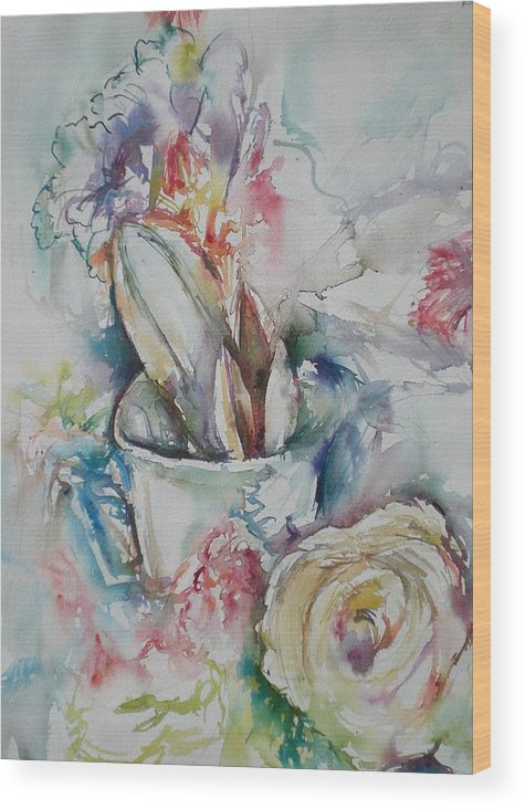 Still Life Wood Print featuring the painting Still Life With Rose by Aleksandra Buha