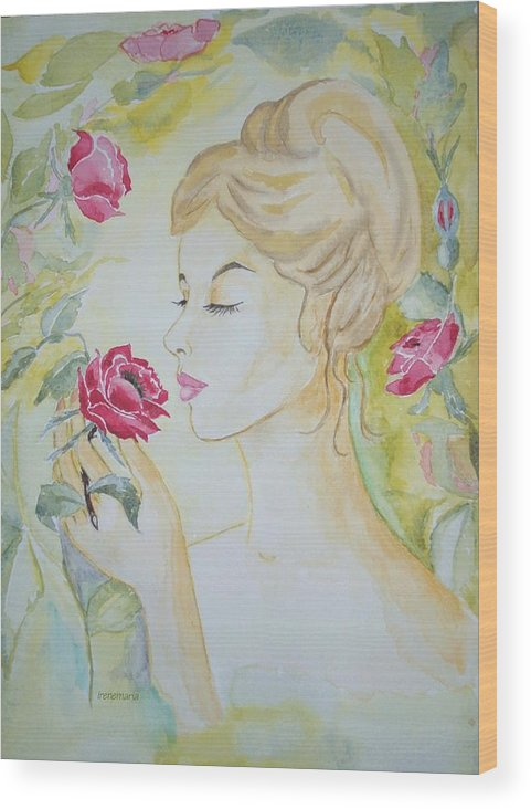 Roses Flowers Wood Print featuring the painting Stop And Smell The Roses by Irenemaria