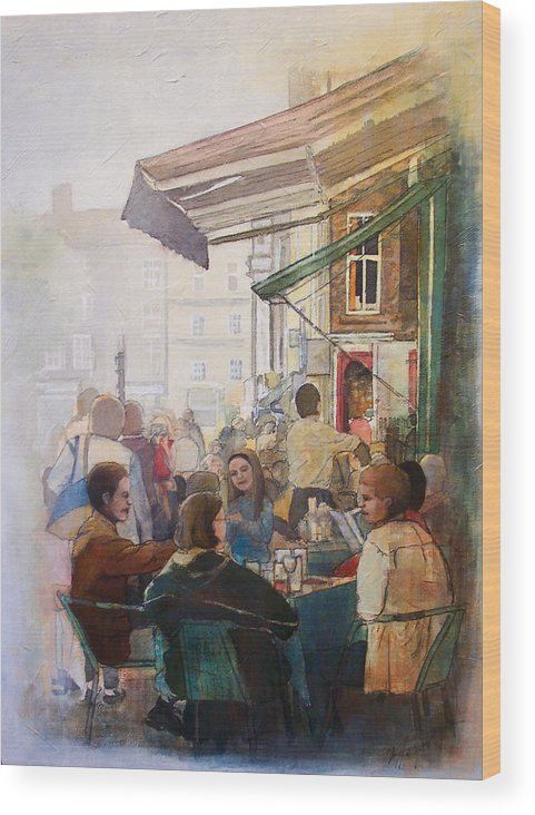 Cafe Wood Print featuring the painting Street Cafe by Victoria Heryet
