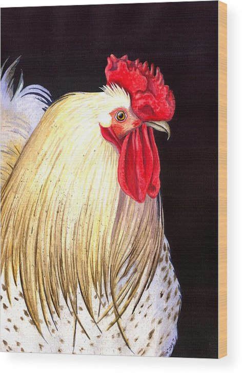 Rooster Wood Print featuring the painting Studdley by Catherine G McElroy