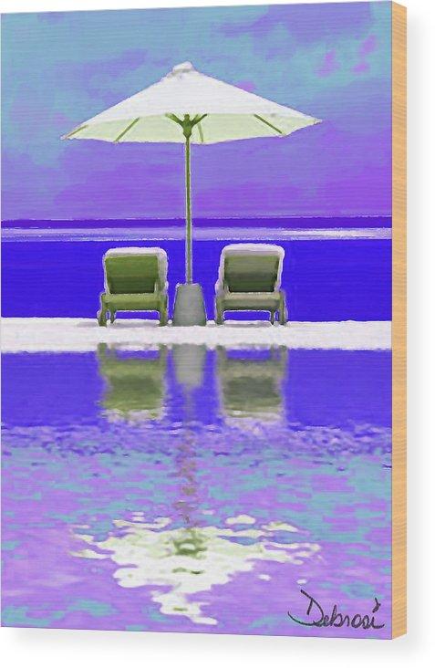 Ocean Wood Print featuring the painting Summer Reflections by Deborah Rosier