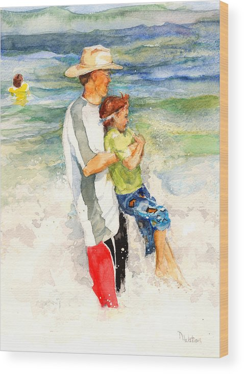 Beach Wood Print featuring the painting Surf Play by Nancy Watson