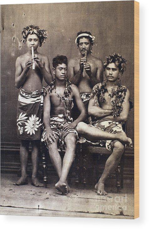 1890 Wood Print featuring the photograph Tahiti: Men, C1890 by Granger