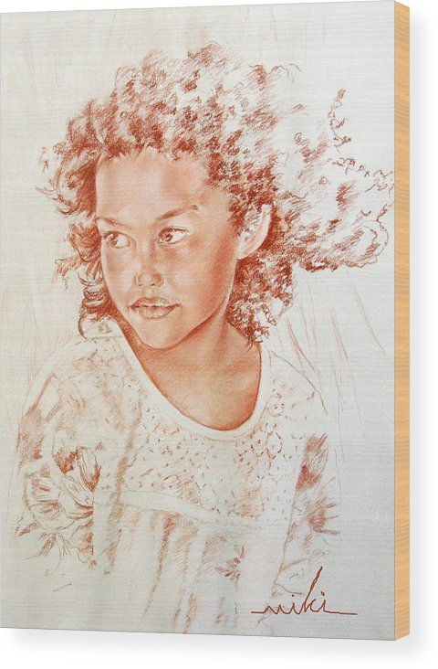 Drawing Persons Wood Print featuring the painting Tahitian Girl by Miki De Goodaboom