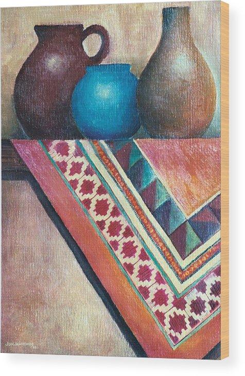 Jars Wood Print featuring the painting The Blue Jar IIi by Jun Jamosmos