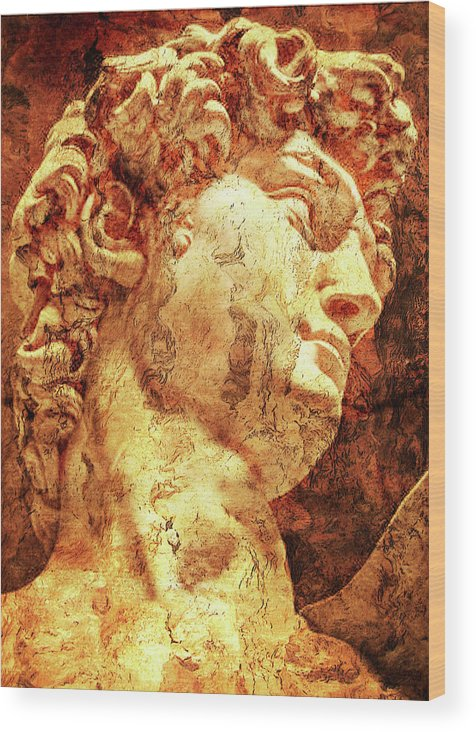 The David Art Wood Print featuring the photograph The David By Michelangelo by J - O  N  E