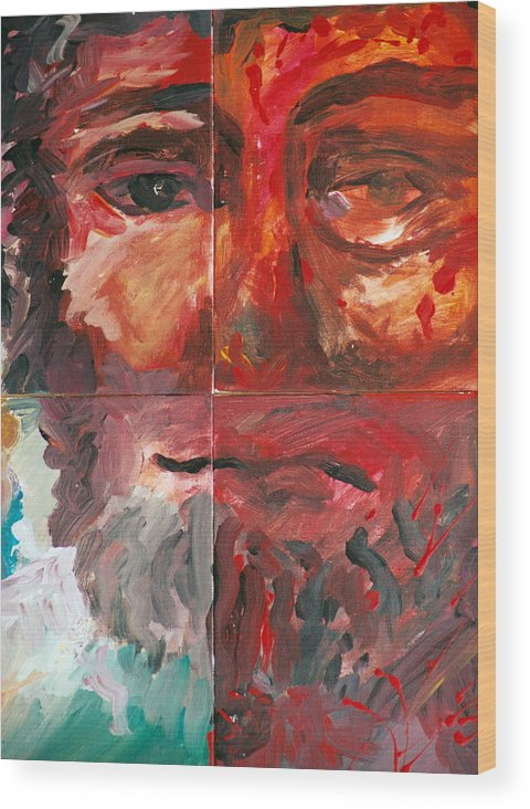 Jesus Wood Print featuring the painting The Face Of Love by Jun Jamosmos