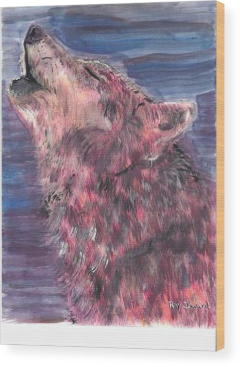 Wildlife Wolves Moonlight Animals Wildlife Portraits Night Howling Wolf Wood Print featuring the painting The Howling 1 by Raymond Doward