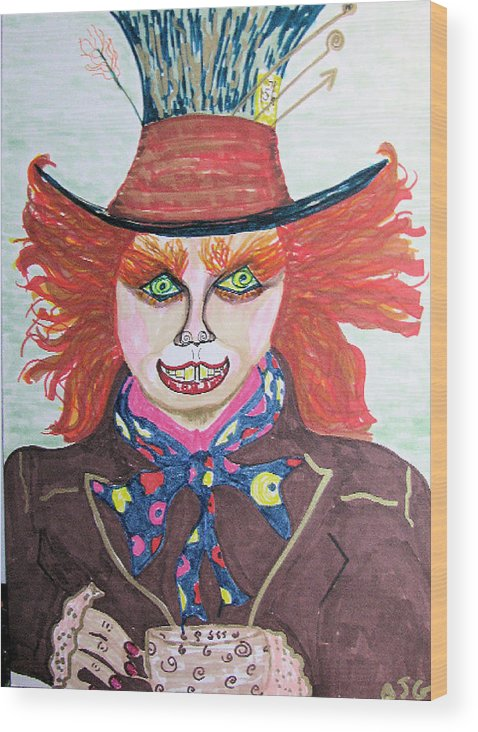 Mad Hatter Wood Print featuring the drawing The Mad Hatter by Barbara Giordano